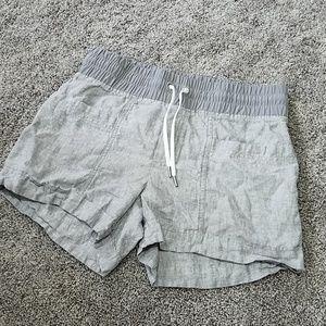Athleta Cabo Linen Flint Gray Drawstring Shorts